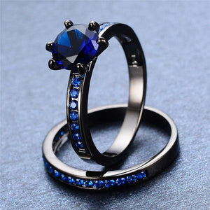 Black Gold Filled, Darkness Ring Set, Quiet Eternity - Splendor Chic