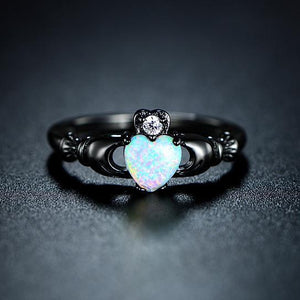 October Birthstone Darkness Ring, Opal, Black Gold Filled, Heart of Opal - Splendor Chic
