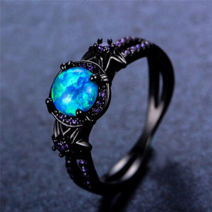 October Birthstone Darkness Ring, Opal, Black Gold Filled, Roaring Seas - Splendor Chic