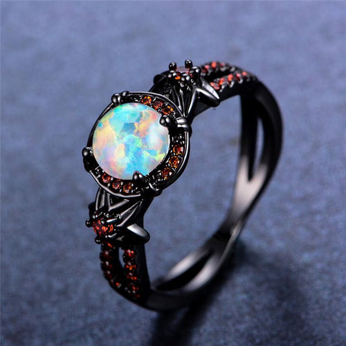 October Birthstone Darkness Ring, Opal, Black Gold Filled, Lava - Splendor Chic