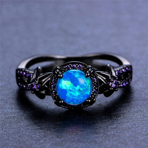 Anello di ottobre Birthstone Darkness, Opal, Black Gold Filled, Mare ruggente - Splendor Chic