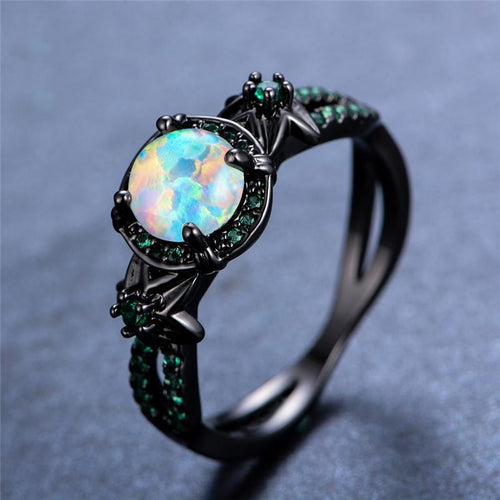 October Birthstone Darkness Ring, Opal, Black Gold Filled, Mystic Portal - Splendor Chic