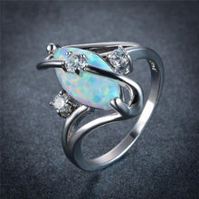 Ottobre Birthstone Ring, Opal, White Gold Filled, Slither - Splendor Chic