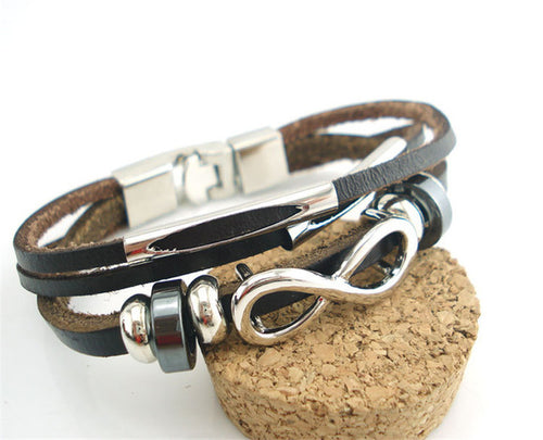 Pulseira Handmade Leather Infinity - Splendor Chic