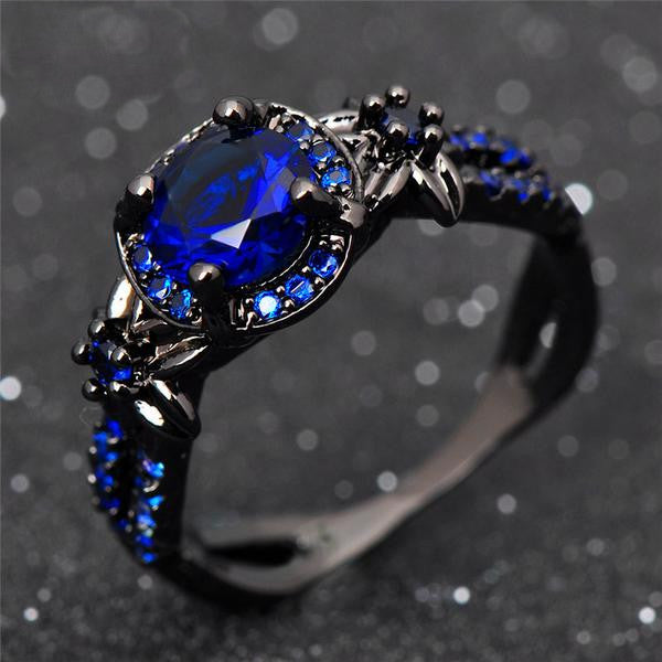Black Gold Filled, Darkness Ring, Midnight Blue - Splendor Chic