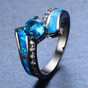 October Birthstone Darkness Ring, Opal, Black Gold Filled, Singular - Splendor Chic