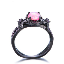 October Birthstone Darkness Ring, Opal, Black Gold Filled, Candy Dreams - Splendor Chic