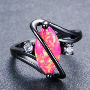 Anello di ottobre Birthstone Darkness, Opal, Black Gold Filled, Starburst - Splendor Chic