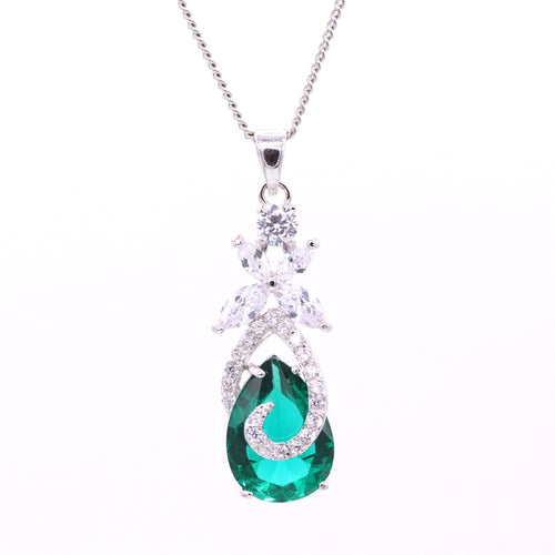 Colar de Birthstone de abril, Zirconia Cúbica Lágrima Drop 5 Colors Pendant - Splendor Chic