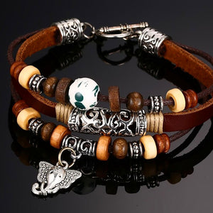 Handmade Leather Elephant Bracelet - Splendor Chic