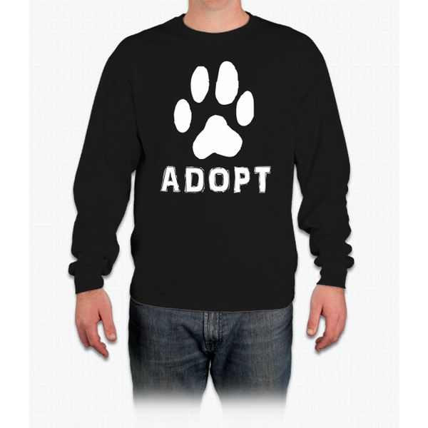"""Adopt"" A Dog Pet Adoption or Rescue T-shirt (Dogs love it ) LS Ultra Cotton"