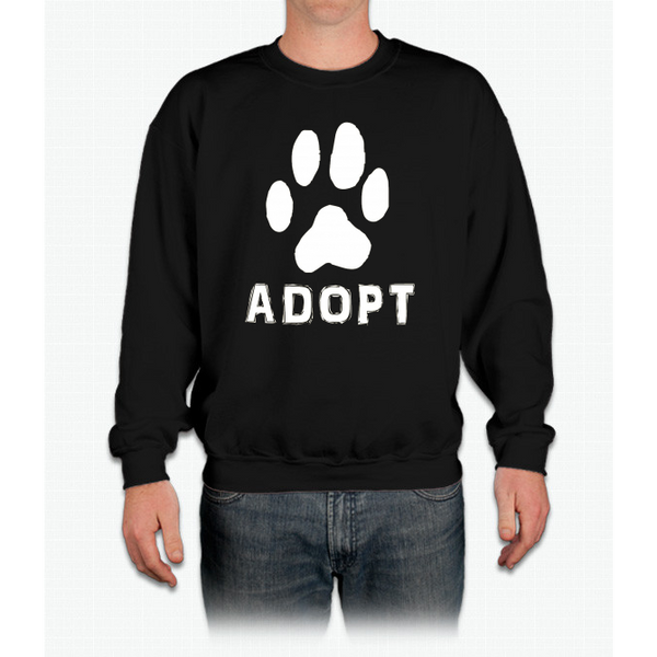 """Adopt"" A Dog Pet Adoption or Rescue T-shirt (Dogs love it ) Crewneck Sweatshirt"