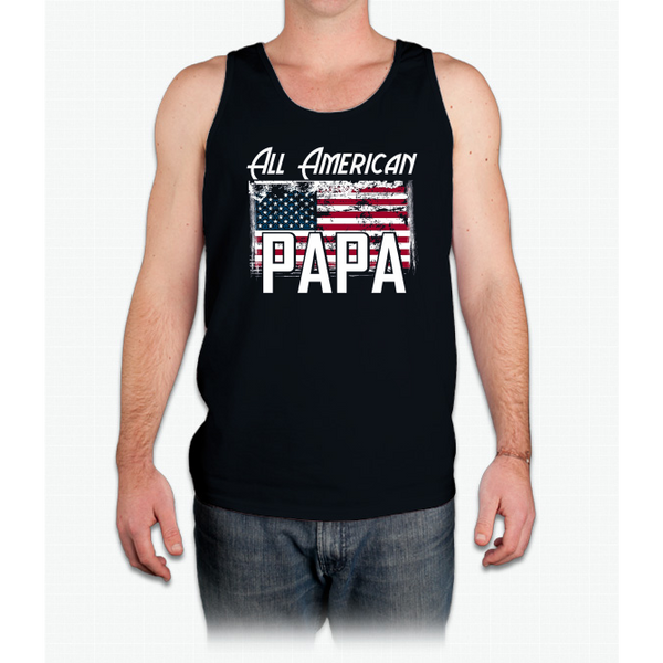 """All American Papa"" Flag Father's Day 4th of July T Shirt Mens Tank Top"