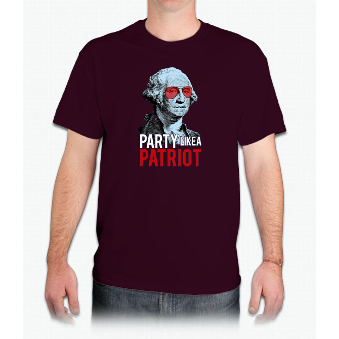 """Party Like A Patriot"" Funny Washington 4th of July T-Shirt Custom Ultra Cotton"