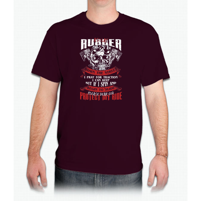 As I lay rubber down the street I pray for traction T-shirt Custom Ultra Cotton