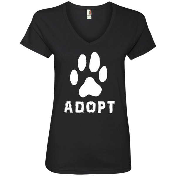 """Adopt"" A Dog Pet Adoption or Rescue T-shirt (Dogs love it ) Ladies V-Neck"