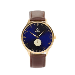 Gold-Blue with Brown Leather
