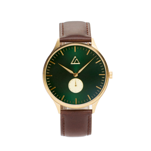 Gold-Emerald with Brown Leather