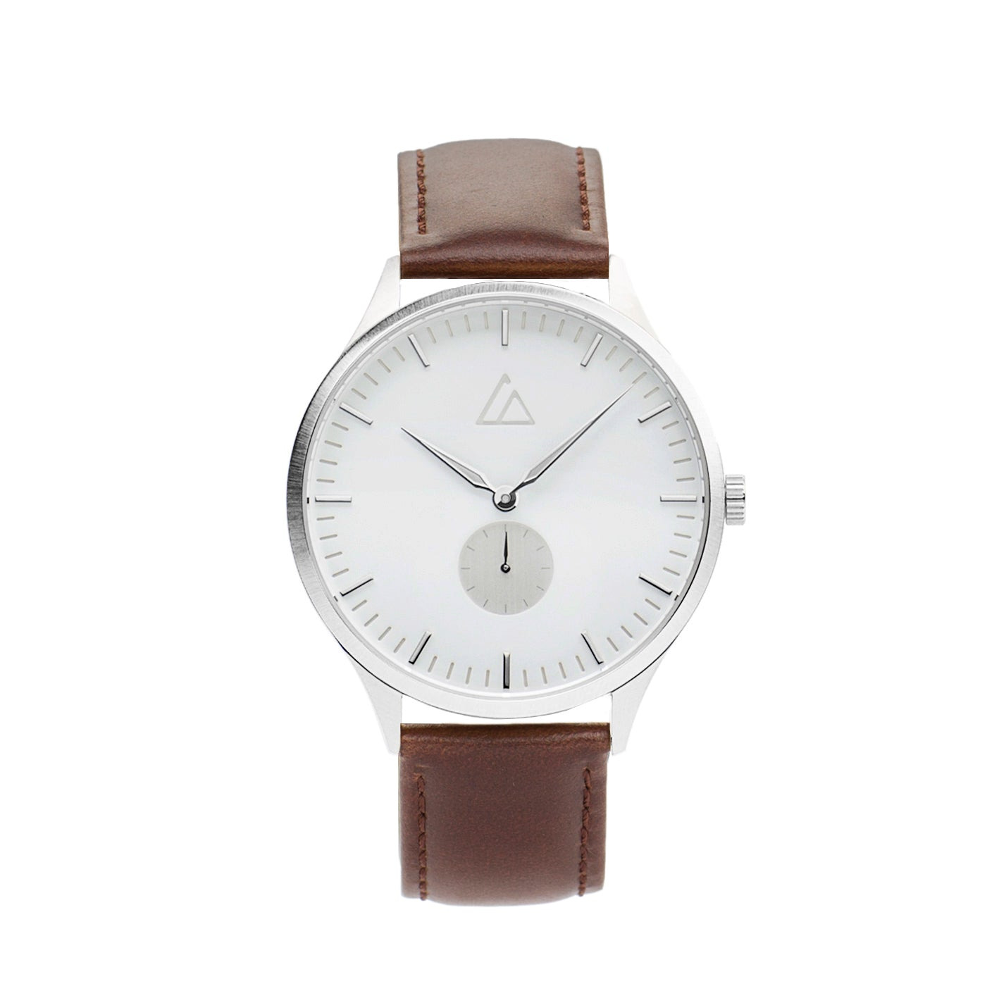 Silver-White with Brown Leather