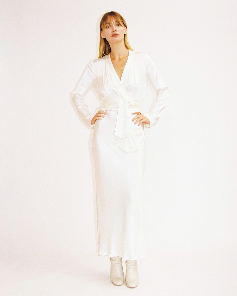 Load image into Gallery viewer, Eliah Wrap Top / Ivory Crepe Satin