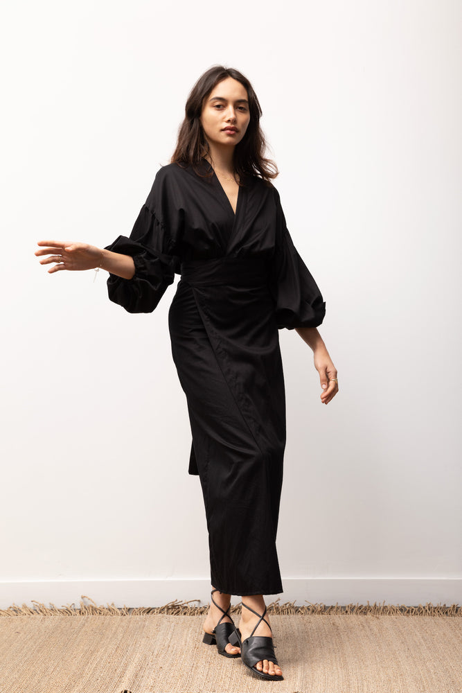 Load image into Gallery viewer, Isabel Wrap Dress / Black