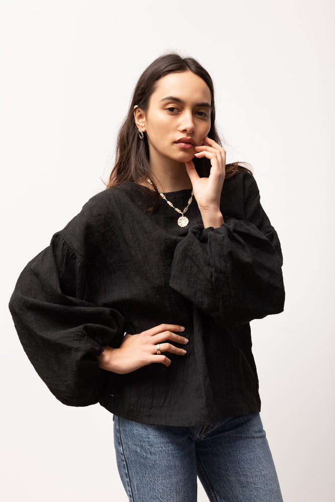 Bella Blouse - Black Linen