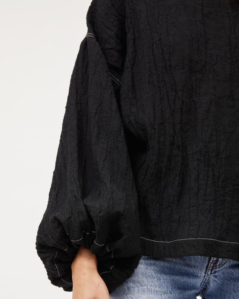 Bella Blouse / Black Linen with Contrast