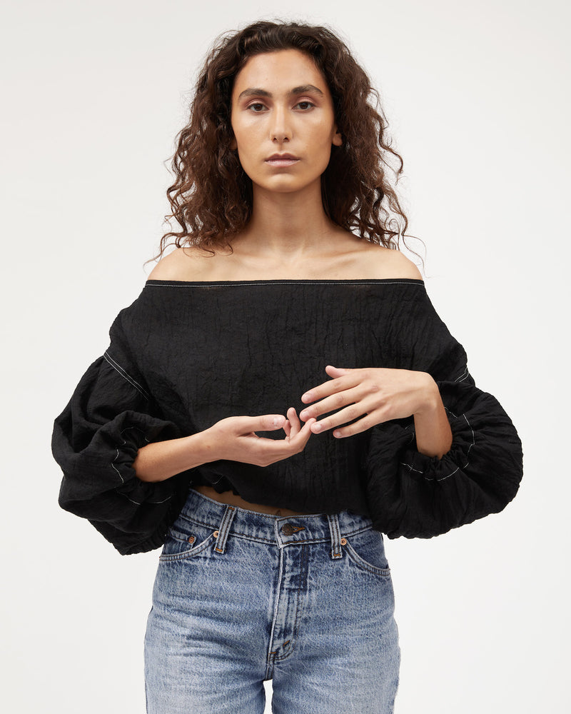 Louie Crop / Black Textured Linen