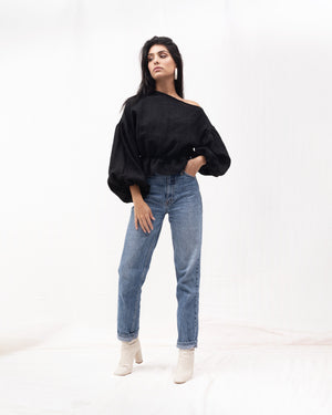 Load image into Gallery viewer, Anna Frill Blouse - Black Linen