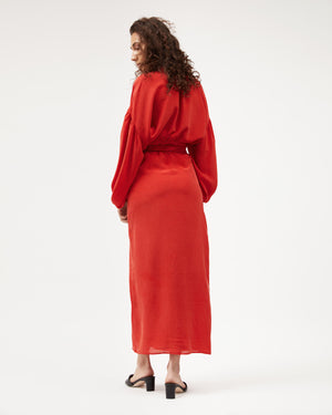 Isabel Wrap Dress / Red Silk Dot (limited)