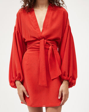 Isabel Wrap Top / Red Silk Dot (limited)
