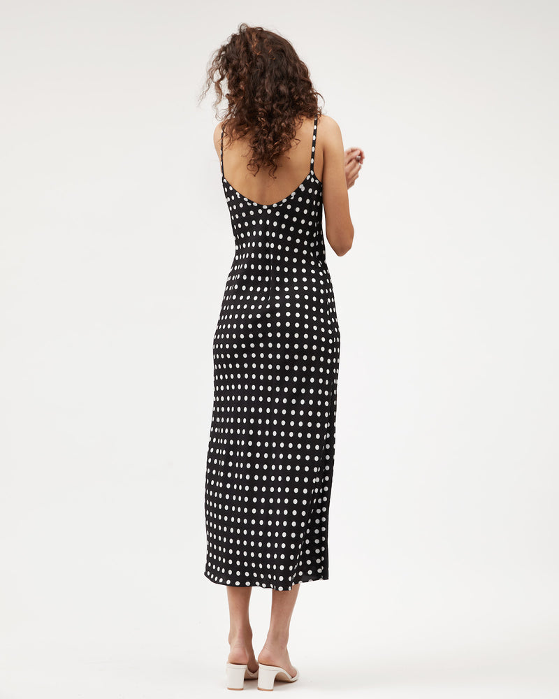 Load image into Gallery viewer, Midi Bias Dress / Polkadot Silk