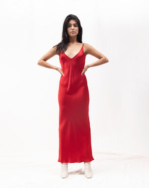 Load image into Gallery viewer, Tara Bias Slipdress / Red