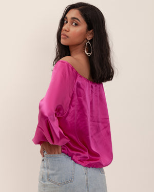 Seala Blouse - Fuchsia Silk Satin