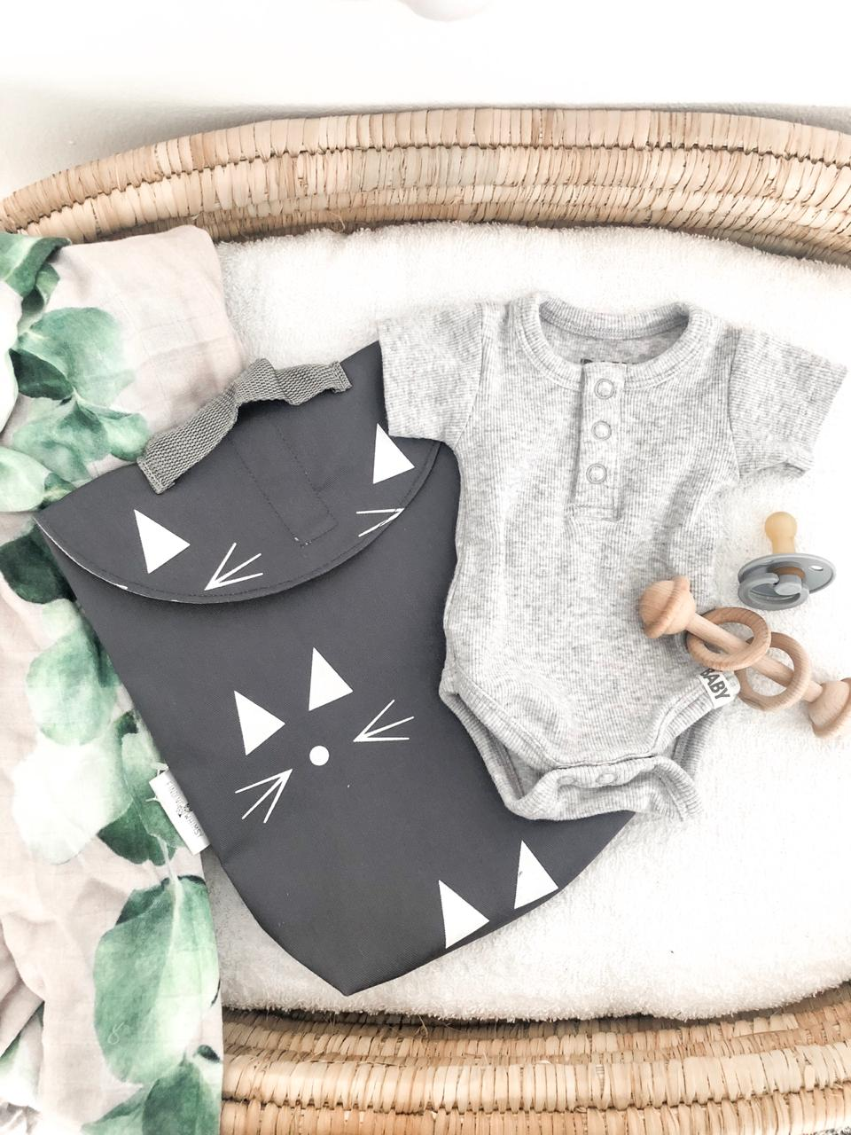 Baby Changer Combo - Grey with White printed design