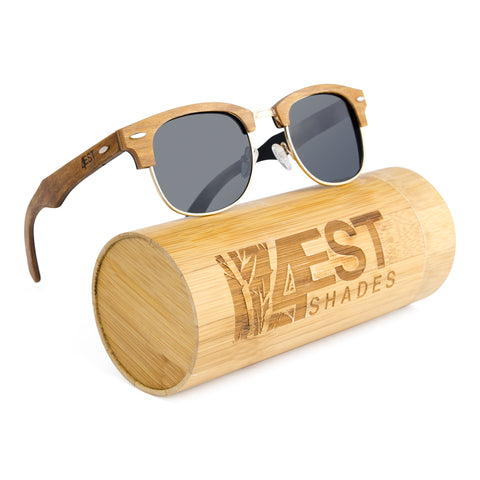 4EST Shades Wood Clubmaster Sunglasses – Handmade Wooden Frame, UV 400 Polarized Lens, Includes Case and Microfiber Cloth