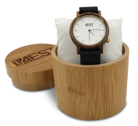 4EST Shades Real Wood & leather Watch - Black