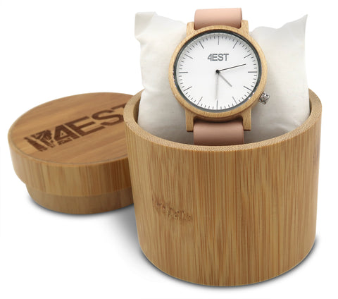 Real Wood & leather Watch - Pink