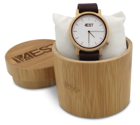 4EST Shades Real Wood & leather Watch - Hazel
