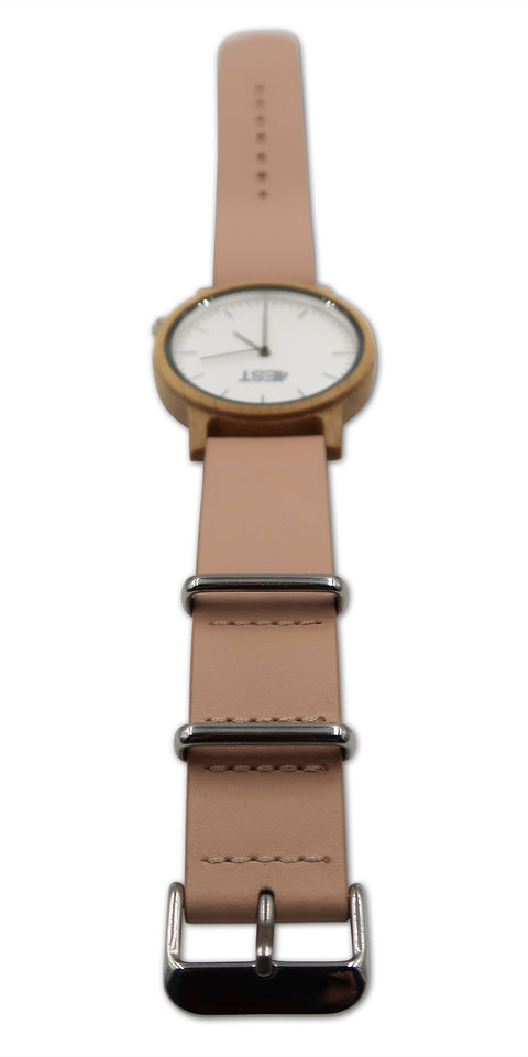 4EST Shades Real Wood & leather Watch - Pink