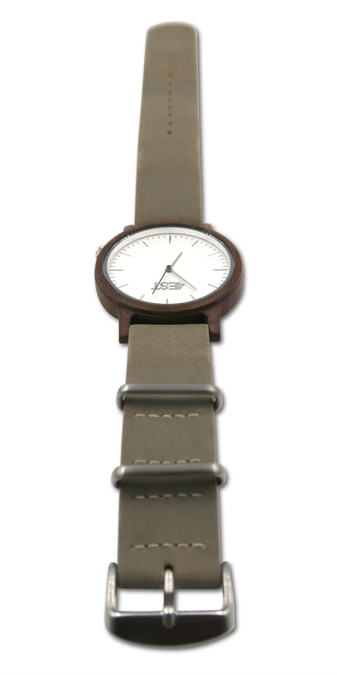 4EST Shades Real Wood & leather Watch - Grey