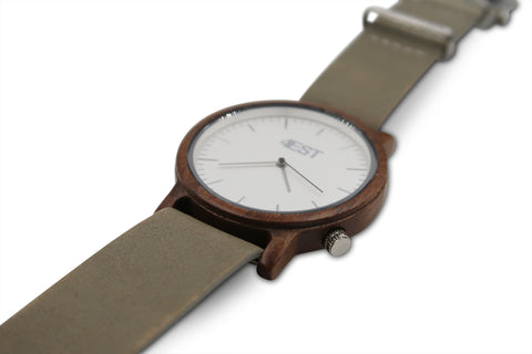 Real Wood & leather Watch - Grey