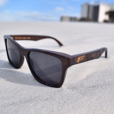 Etched Brown Bamboo Shades