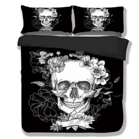 3D Skull Duvet Cover Set F