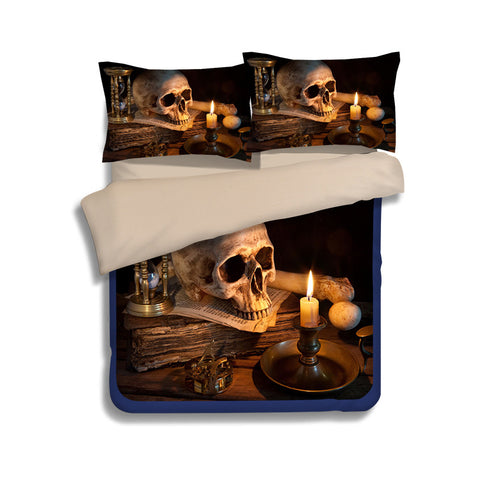 3D Skull Duvet Cover Set E
