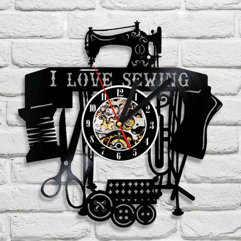 Sewing Machine Design Wall Mounted Clock