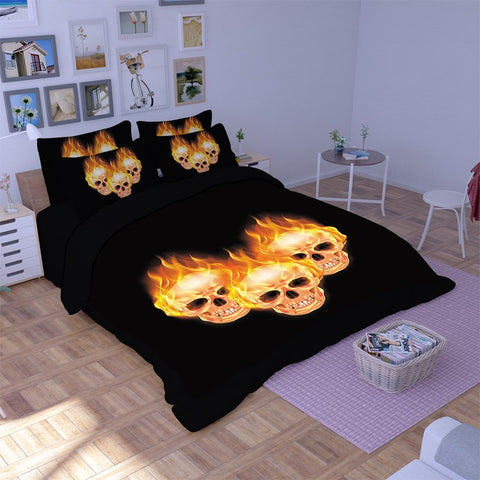 3D Skull Duvet Cover Set C