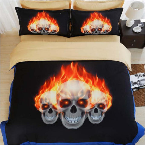 3D Skull Duvet Cover Set K