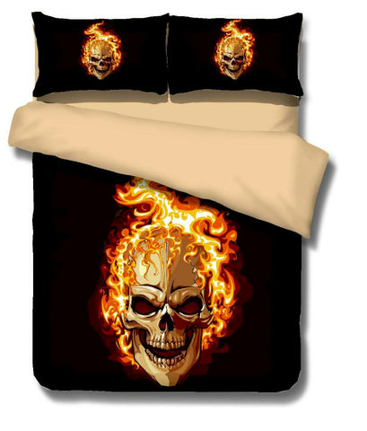 3D Skull Duvet Cover Set J