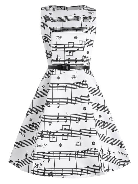 Elegant Music Notes Sleeveless Dress
